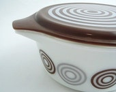 Mid Century Brown Gray Circles Design Salton Pyrex Era Glass Casserole