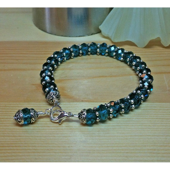 swarovski blue zircon 8mm rondel tennis bracelet. Black Bedroom Furniture Sets. Home Design Ideas
