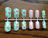 Light blue/green with pink flowers and pink with white stripes
