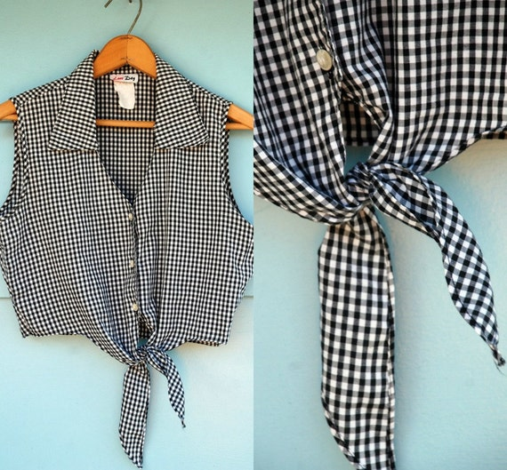 1980s. black & white gingham tie top. m-l