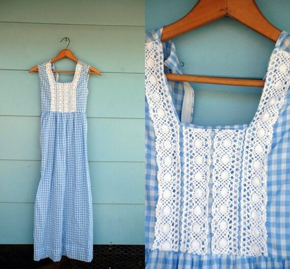 1970s. baby blue gingham lace bib maxi dress. xxs