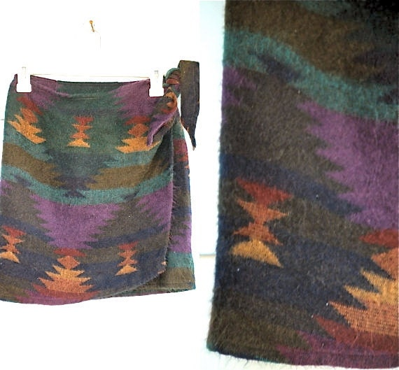 SALE. 1990s. navajo mini wrap skirt. s