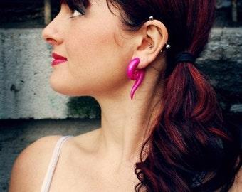Shimmer Pink Foxtails - Earrings for Stretched Lobes - Gauges