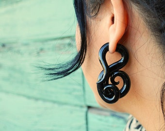 Fakers - Black Octopi - Earrings for Stretched Lobes - Faux Gauges