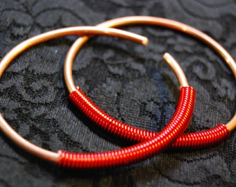 Coil Closure Copper and Wire Hoops - Earrings for Stretched Lobes - Gauges - Choose Your Diameter