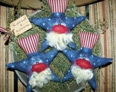 Primitive Americana Patriotic 4th of July Uncle Sam Stars Ornies Bowl Fillers