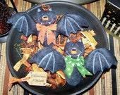 Primitive Hallowen Bat Bowl Filler Ornies Pattern 141