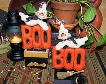 Primitive Folk Art Halloween Boo Ghost Ornies Pattern 95
