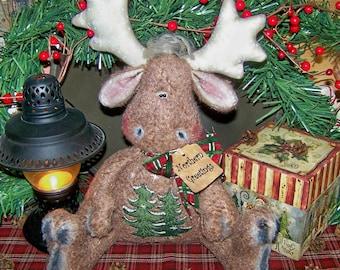 Primitive Christmas Marvin Moose Shelf Sitter Doll pattern 57