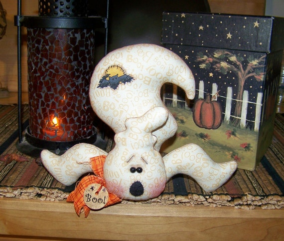 Primitive Halloween Ghost Shelf Doll Ornie Pattern 140