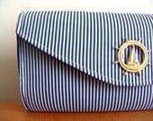 Handmade Clutch Purse. Nautical Navy Blue and White Stripe