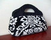 Handmade Handbag. Black and White Damask