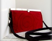 Red fashion. Womens velvet wallet clutch billfold in frame with cross body strap.