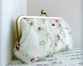 Gathered lace bridal clutch bag in ivory with flowers. Framed clutch purse. Made to order