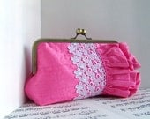 Pink silk ruffled clutch purse with white lace, formal clutch,