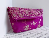 Clearance. Violet magenta and gold Indian sari foldover clutch purse zipper pouch