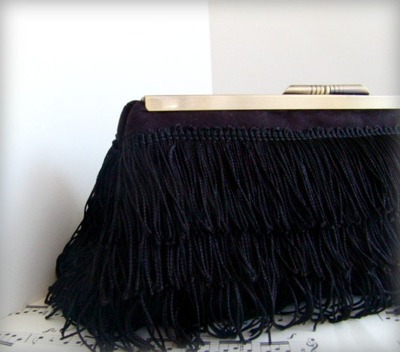 Clearance. Black clutch purse, flapper fringe purse, party clutch.