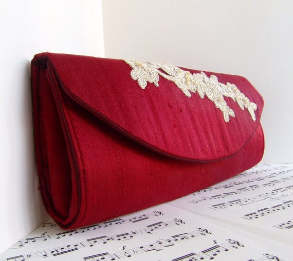 Dark red silk clutch with champagne beaded lace applique