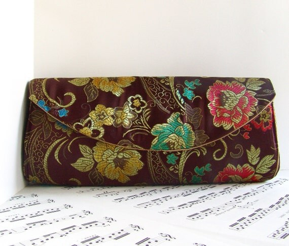 Clearance, Brown floral brocade clutch purse, flower clutch bag, brown clutch