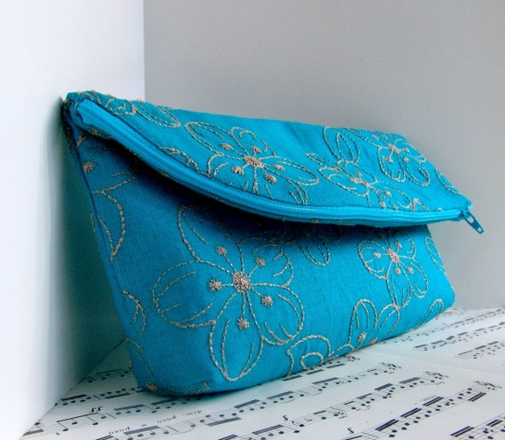 Clearance. Teal linen foldover clutch purse pouch with zipper. Spring fashion