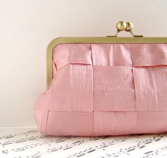 Rose blush pink silk clutch purse, woven formal clutch, Spring fashion