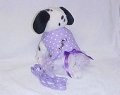 Dog Harness Vest And Matching Leash  Custom Sizes From XSmall - Medium Lavender Polka Dot