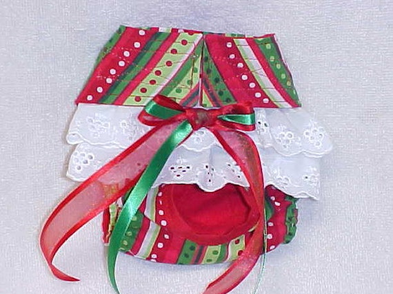 Dog Diaper Pantie Pet Wrap Doggie Britches For Female Sizes xSmall To XLarge  Christmas Stripe Made To Order