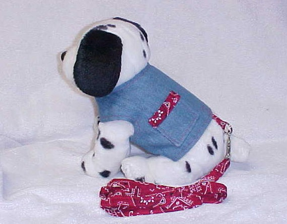 Reversibile Dog Harness Vest And Matching Leash  Bandana Cloth Custom Sizes From XSmall - Medium Reversible Denim Bandana Cloth