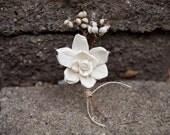 Gardenia Sola Wood Boutonniere