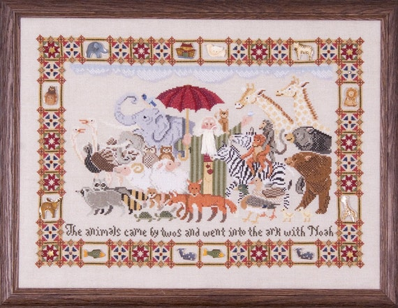 Noah and Friends Sampler Chart with Embellishments and Natural Oatmeal Aida 14 count Fabric