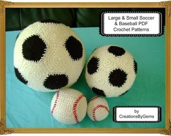 Small and Large Soccer Ball and Baseball PDF Crochet Pattern