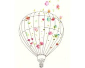 Hot Air Balloon, Art Print for Nursery, Home Decor, All Rooms - 8x10 - Floral, Flowers, Flying, Shabby Chic, Wildflowers, Wind, White