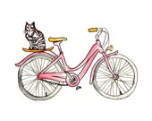 Kitten Bike - 8x10 Art Print Pink Bicycle - Cat Whimsical - French Pink, Travel, Banana - Wheels, Ride - Spring, Summer Cycle