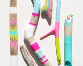 Driftwood Art - 6 Piece Painted Sticks - Neon, Pastel, Chevron, Triangles, Ikat, Color Block - Tribal Inspired Pattern, Geometric
