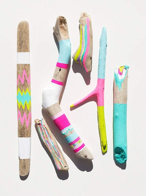 Driftwood Art - 6 Piece Painted Sticks - Neon, Pastel, Chevron, Triangles, Ikat, Color Block - Tribal Inspired Pattern, Geometric
