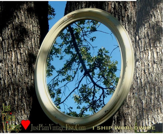 VTG Oval Wall Mirror in Chippy Pale Yellow Wood Frame 20 x 24in (50x61cm) (price shown is 50% off thru Jun 30)