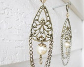 Brass and Pearl Filigree Chandelier Earrings