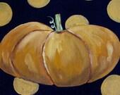 Pumpkin on Black - Original Painting