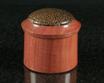 Pink Ivory Red Palm Lidded Vessel 00123