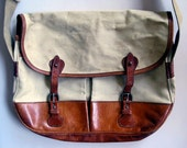 Vintage Banana Republic Canvas and Leather Messenger shoulder Bag, Made In England