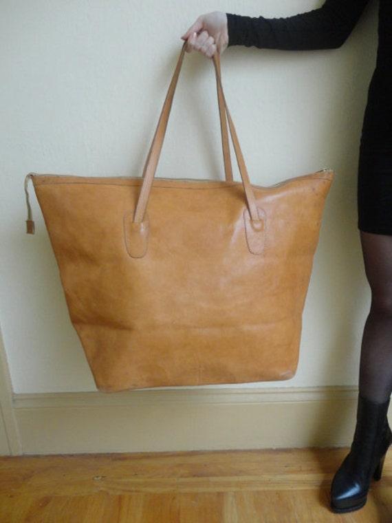 Vintage Amazing Oversize Leather Tote Shoulder Bag Clava American