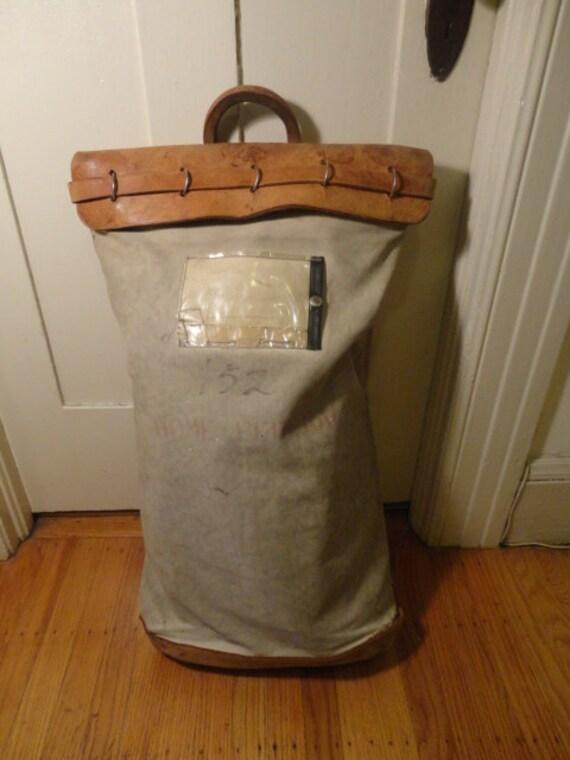 Vintage Leather Canvas Riveted  Mail Postal Bag Railroad Train Bank  Duffle Duffel Workwear