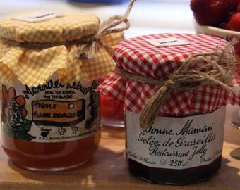Yellow gingham honey jar covers - set of 6