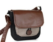 Brown Vegan Leather & Black Handmade Cross Body Bag