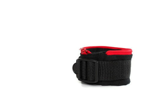 Black & Red Wrist Wallet, Jogger's Cuff