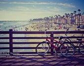 Lazy Summer Days, California beach photography, bikes on the pier, 11 x 14 photographic print