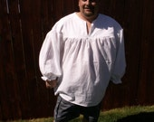 Mens Ghillie 4XL, 5XL or 6XL White Primitive Renaissance Jacobite Kilt Shirt