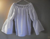 Womens Xs, S, M, or L) White Bell Flared Long Sleeve Renaissance Faire Chemise Blouse