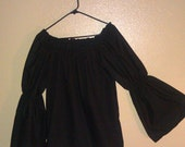XL BLACK Womens Renaissance Faire Flared Sleeve Blouse Chemise