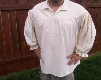 Mens Drop Yoke 4XL, 5XL or 6XL Renaissance Primitive Pirate Pioneer Poet Theatre Shirt